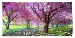 Spring Rhapsody, Happiness And Cherry Blossom Trees Bath Towel