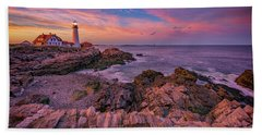 Spring Sunset At Portland Head Lighthouse Bath Towel by Rick Berk
