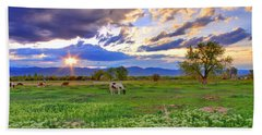 Spring Sunset Over The Rockies Bath Towel