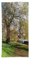 Spring Sunshine On Cambridge Riverbank Hand Towel by Gill Billington