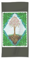 Hand Towel featuring the drawing Spring Tree With Knotted Roots And Knotted Border by Lise Winne