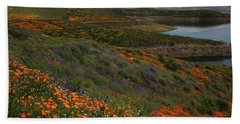 Bath Towel featuring the photograph Spring Wildflowers At Diamond Lake In California by Jetson Nguyen
