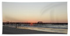 Springmaid Pier Sunrise Hand Towel by Gordon Mooneyhan