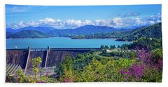 Springtime At Shasta Lake Dam Bath Towel