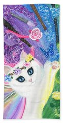 Hand Towel featuring the painting Springtime Magic - White Fairy Cat by Carrie Hawks