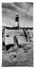 Spurn Point Lighthouse And Groynes Hand Towel