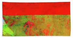 Hand Towel featuring the mixed media Square Collage No. 11 by Nancy Merkle