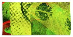 Hand Towel featuring the mixed media Square Collage No. 8 by Nancy Merkle