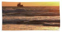 Squid Boat Golden Sunset Bath Towel
