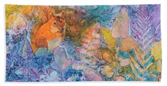 Hand Towel featuring the painting Squirrel Hollow by Nancy Jolley