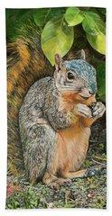 Squirrel Under Bush Bath Towel