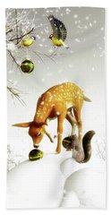 Squirrels And Deer Christmas Time Bath Towel