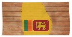 Sri Lanka Rustic Map On Wood Hand Towel