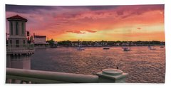 St. Augustine Bridge Of Lions Watercolor Sunset Hand Towel