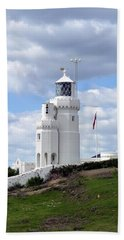 St. Catherine's Lighthouse On The Isle Of Wight Bath Towel by Carla Parris