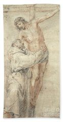 St Francis Rejecting The World And Embracing Christ Hand Towel