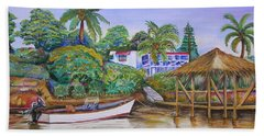 Bath Towel featuring the painting St. George Harbor by Patricia Piffath