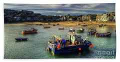 St Ives Harbour And Beach Bath Towel