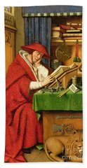 St. Jerome In His Study  Hand Towel by Jan van Eyck