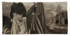 St. John And Blessed Mother At The Tomb Hand Towel