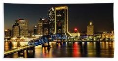 St Johns River Skyline By Night, Jacksonville, Florida Bath Towel