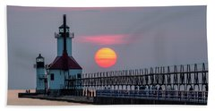 Hand Towel featuring the photograph St. Joseph Lighthouse At Sunset by Adam Romanowicz