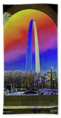 Hand Towel featuring the photograph St Louis Arch Rainbow Aura  by Patricia L Davidson