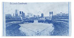 Hand Towel featuring the photograph St. Louis Cardinals Busch Stadium Blueprint Words by David Haskett