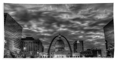 St Louis Reflective Sunrise B W Old St Louis County Court House Art Hand Towel