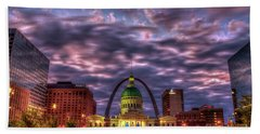 St Louis Reflective Sunrise Old St Louis County Court House Art Hand Towel