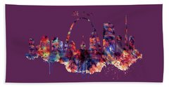 Hand Towel featuring the digital art St Louis Skyline by Marian Voicu