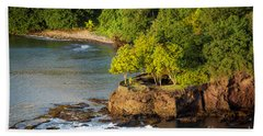 St Lucia - Trees On A Rocky Point Bath Towel