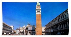 Hand Towel featuring the photograph St Mark's Square by Anne Kotan