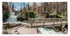 St. Mary Falls With Bridge Hand Towel