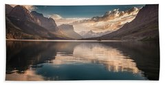 St Mary Lake Sunset Hand Towel