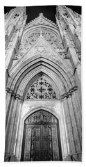 St Patrick's Cathedral Door Black And White  Hand Towel