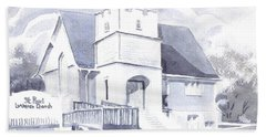 Hand Towel featuring the painting St. Paul Lutheran Church 2 by Kip DeVore
