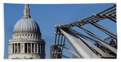 St Pauls Cathedral And The Millenium Bridge  Hand Towel