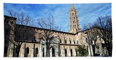 Hand Towel featuring the photograph St Sernin Basilica by Cendrine Marrouat