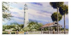 St. Simons Island Lighthouse Bath Towel by Sam Sidders