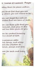 St Therese Of Lisieux Prayer And True Light Lower Emerald Pools Zion Hand Towel by Heather Kirk