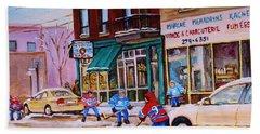 St. Viateur Bagel With Boys Playing Hockey Hand Towel by Carole Spandau
