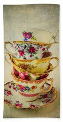 Stack Of Pretty Tea Cups Hand Towel