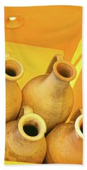 Stacked Yellow Jars Bath Towel