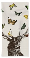 Stag And Butterflies Hand Towel