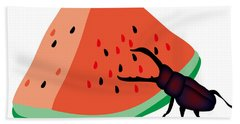 Stag Beetle Is Eating A Piece Of Red Watermelon Hand Towel