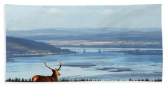 Stag Overlooking The Beauly Firth And Inverness Bath Towel