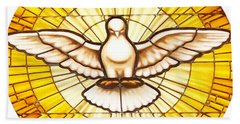 Stain Glass Dove Bath Towel by Joseph Frank Baraba
