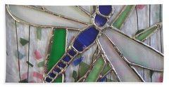 Stained Glass Dragonfly In Reeds By Karen J Jones Hand Towel
