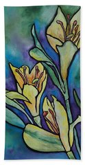 Stained Glass Flowers Hand Towel